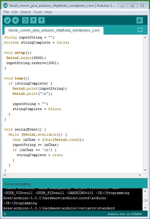Deteksi comport arduino menggunakan aplikasi c rifqi